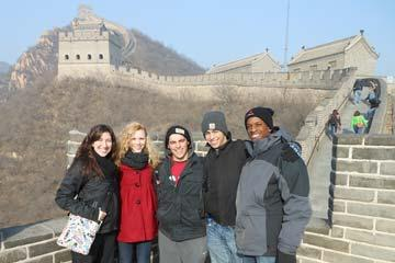 Students at the Great Wall of China